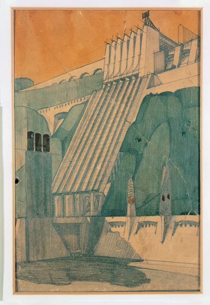 Stock Photo: 1899-30359 Design for a building, by Sant'Elia Antonio, 1914, 20th Century, pencil, ink and watercolour on paper . Italy, Private Collection. Utopia.