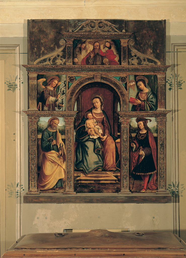 Stock Photo: 1899-30381 Madonna and Child with Saints, by Gandolfino da Roreto, 16th Century, oil on canvas. Italy, Piemonte, Quargnento, Alessandria, San Dalmazzo basilica. Whole artwork. Virgin Mary Madonna Baby: Child Jesus saints Annunciation Jesus Christ dress: robe: garment book halo: aureole fabric floor wooden frame yellow red blue green white black.