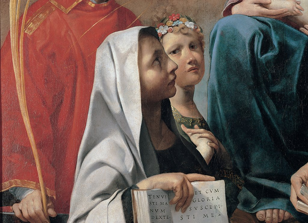 Stock Photo: 1899-30386 Madonna with Child and Saints Lawrence, Nicholas and Frances of Rome, by Gessi Francesco, 17th Century, oil on canvas. Italy, Lombardy, Milan, Brera art gallery. Detail. St Frances of Rome book prayers drapery white black red blue.