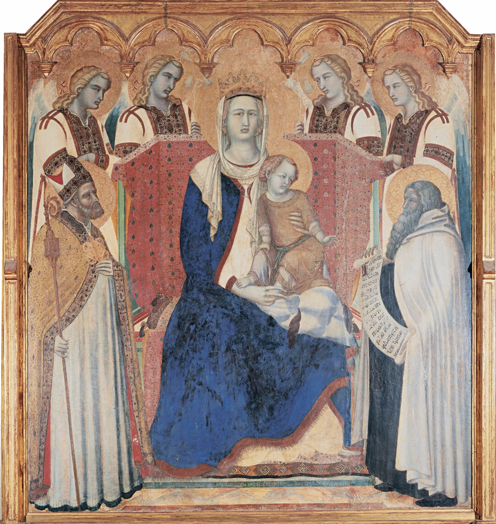 Carmine Altarpiece, by Lorenzetti Pietro, 1329, 14th Century, tempera on panel transferred to canvas. Italy: Tuscany: Siena: National Gallery of Art. Detail. Central compartment Madonna throne Child Jesus/Baby Jesus/Christ Child St.Nicholas of Bari Prophet Elijah/Elias four angels crown gold blue red crosier/pastoral staff tissue mantle/cloak : Stock Photo