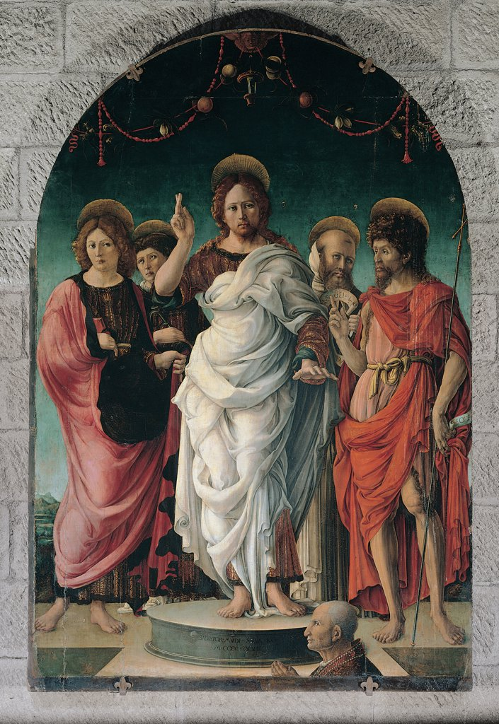 Stock Photo: 1899-30428 Salvator Mundi and Saints, by Girolamo da Cremona, 15th Century, tempera on board. Italy, Lazio, Viterbo, Duomo. All Christ Jesus Salvator Mundi believer: devotee probably the buyer: purchaser: client of the work: painting hierarchical proportions fruit festoons Saints drapery aureoles: halos nimbi: nimbuses mountains in the backgroun.