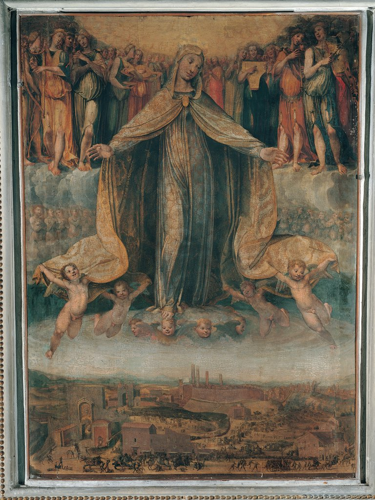 The Virgin Mary Protecting Siena, by Giovanni di Lorenzo Cini, 1528, 16th Century, tavola. Italy, Tuscany, Siena, San Martino church. Whole artwork. Virgin Immaculate Conception Madonna Mary mantle: cloak Siena town seraphim cherubim angels winged putti: cherubs sky clouds angel ranks saints light walls buildings towers drapery: draping clothes: dress veil decora. : Stock Photo