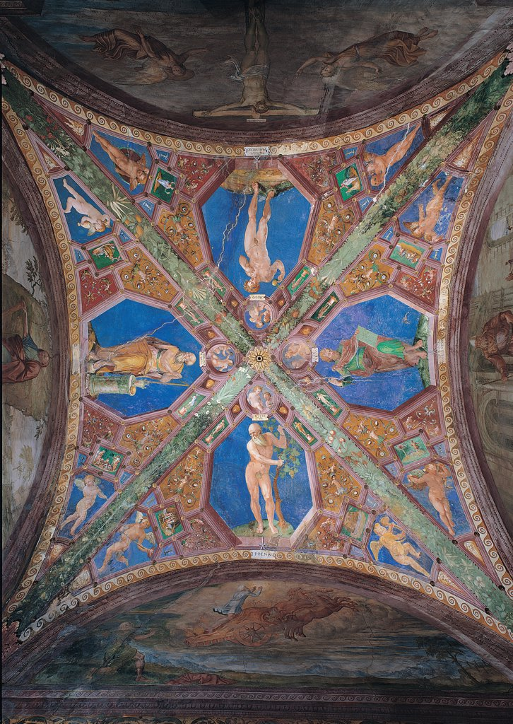 Vault with Adam, Noah, Moses, Melchisedec, by Giovanni da Spoleto, 16th Century, fresco. Italy, Umbria, Spoleto, Perugia, Cathedral. Whole artwork. Vault ribs sails Adam Moses Noah Melchisedec hexagons angels small angels nude winged putti: cherubs plant blue red brown hues: tones green bordeaux. : Stock Photo