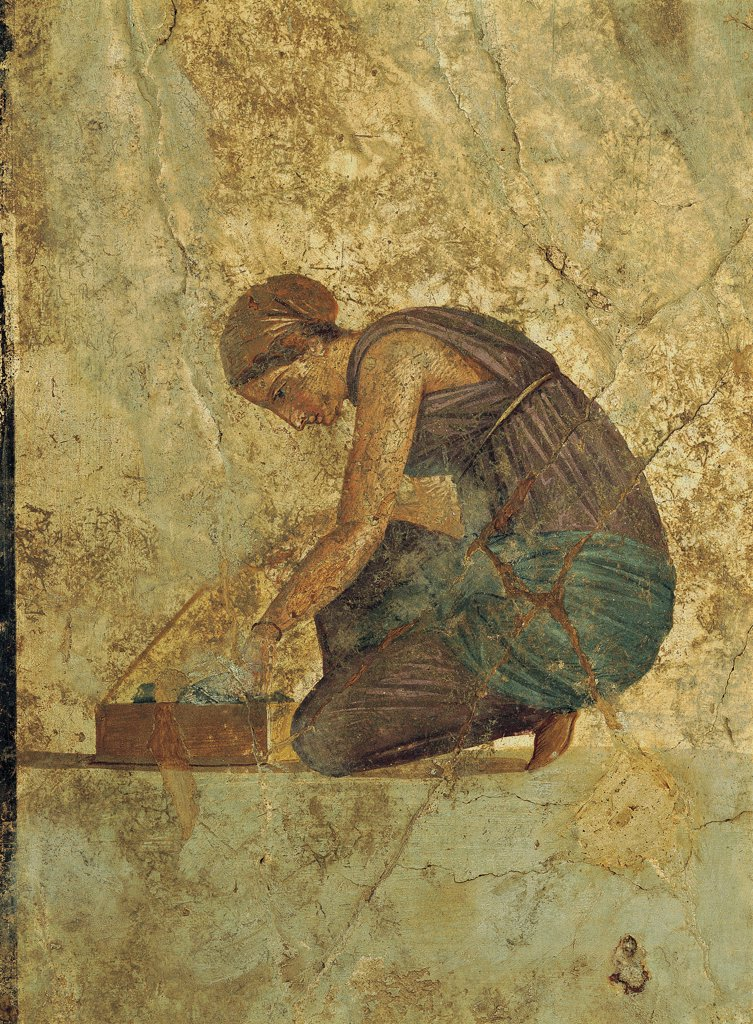 Mars and Venus, by Unknown artist, 1st Century b.C., 1st Century, detached painted plaster (mural). Italy: Campania: Naples: National Archaeological Museum. Detail. Crouched slave reordering a box. She wears a draped robe/cloth around her body and her hair is gathered into a chignon : Stock Photo