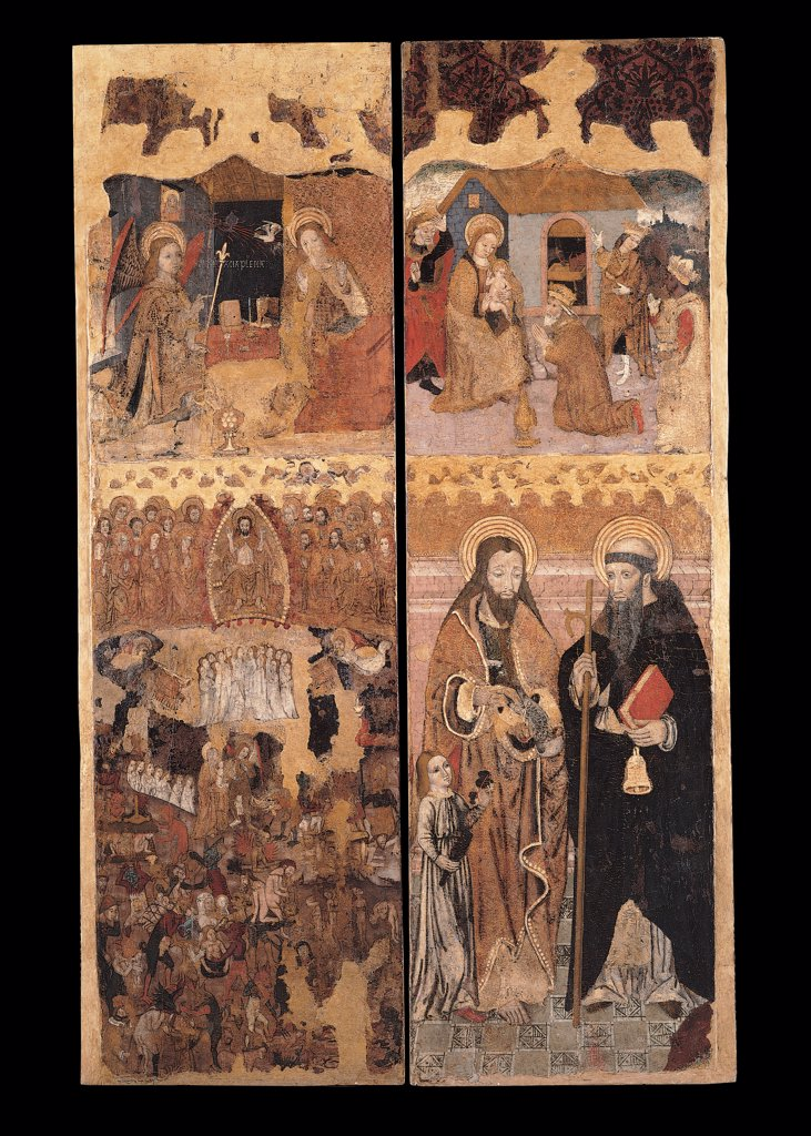 Stock Photo: 1899-30453 Retablo of the Last Judgment, by Unknown, 15th Century, tempera on board with golden background. Italy, Sardegna, Cagliari, National Gallery of Art. Whole artwork. Retablo of the Last Judgment four episodes from top right Annunciation angel Virgin Mary message lily Adoration of the Wise Men Mary Infant Jesus: Baby Jesus: Child Jesus God in mandorla ranks of the blessed and da.