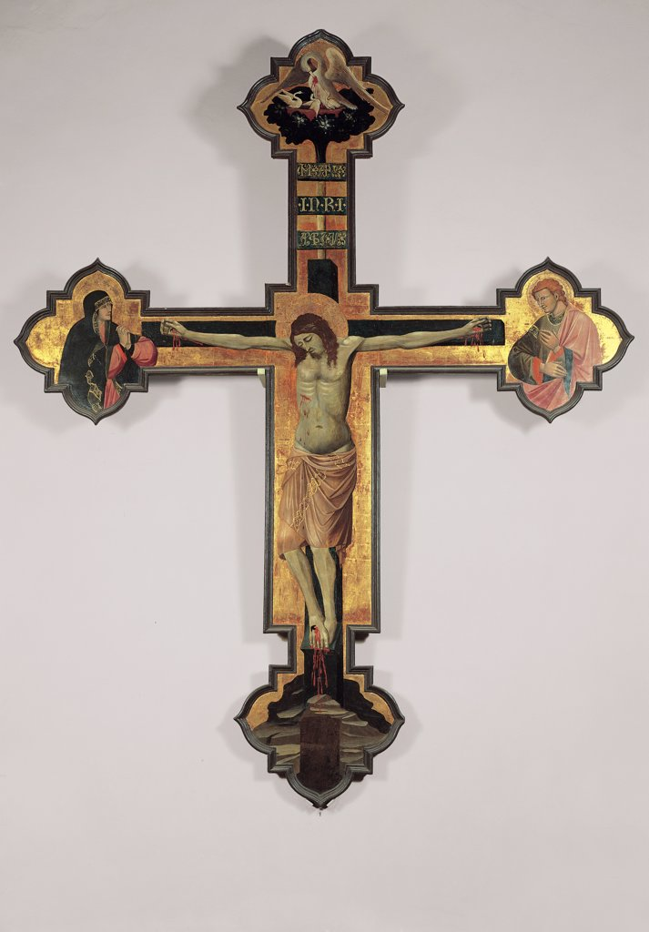 Painted Cross/Crucifix, by Jacopo di Paolo, 1426, 15th Century, tempera on board with golden background. Italy, Emilia Romagna, Bologna, San Giacomo Maggiore Church. All painted wooden Cross Christ Patiens nude: naked loincloth nimbus aureole: halo on the left, at the polylobate end of the horizontal arm of the Cross, Mary Madonna Grieved Virgin on the right St John the Evangelist a. : Stock Photo