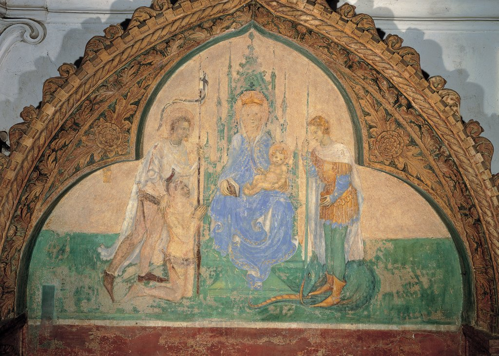 Madonna and the Child, Saints and Donor, by Michelino da Besozzo, 1410, 15th Century, mural fresco. Italy, Veneto, Vicenza, Santa Corona church. Detail. Virgin Mary Infant Jesus: Baby Jesus: Child Jesus throne spires saints donor prayer clasped hands. : Stock Photo