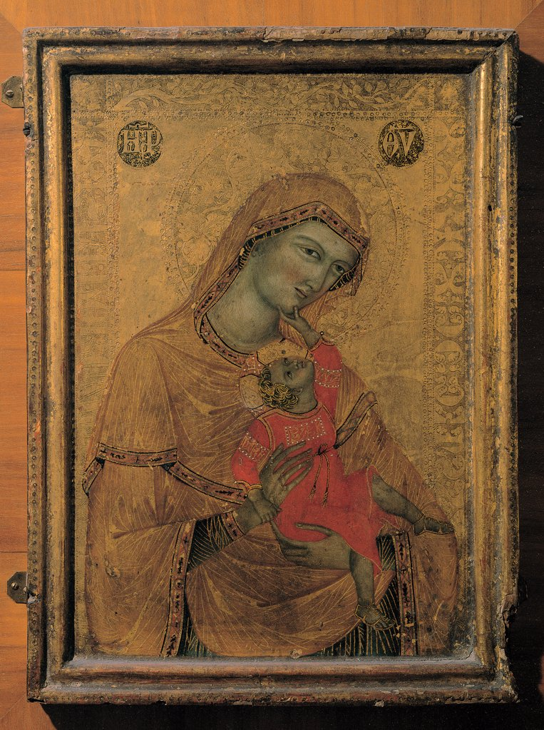 Stock Photo: 1899-30470 Madonna and Child, by Master of the Perugia Madonna, 14th Century, tempera on board. Italy, Umbria, Perugia, National Gallery of Umbria. Whole artwork. Madonna Child Virgin Mary veil halos: aureoles nimbi clothes: dress drapery: draping Jesus playing affection gold background inscription brown hues: tones orange red yellow.