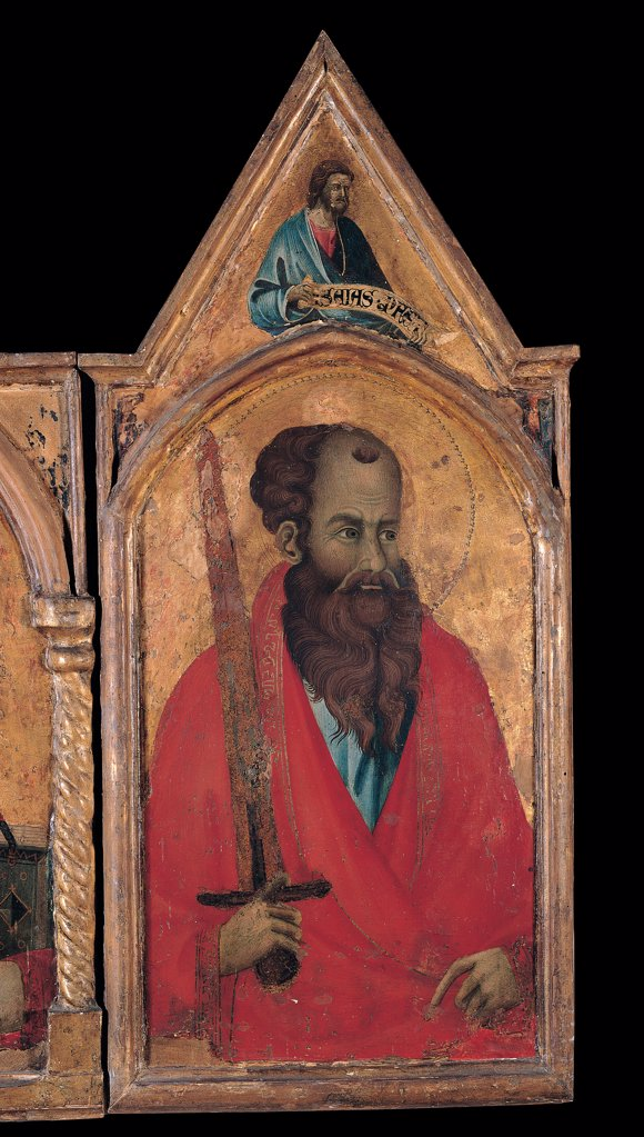 Stock Photo: 1899-30473 Polyptych, by Master of San Torpe, 1295 - 1335, 14th Century, tempera on board. Italy, Tuscany, Pisa, San Matteo National Museum. Detail. Polyptych St Paul prophet cusp beard drapery: draping mantle: cloak Gothic gold-background sword red gold blue light blue: azure.