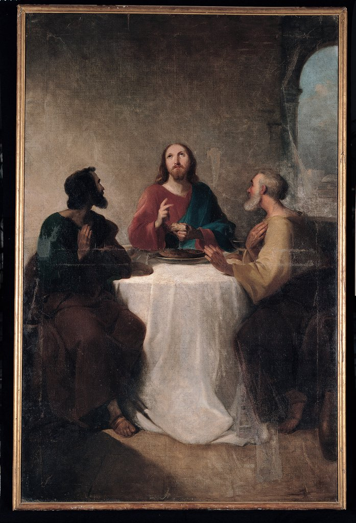 Stock Photo: 1899-30494 Supper at Emmaus, by Marghinotti Giovanni, 1863, 19th Century, tela. Italy, Sardegna, Cagliari, Sant'Eulalia church. Whole artwork. Supper table companions guests food course dish tablecloth room window disciples Cleopa Jesus Christ recognition Emmaus Eucharist.
