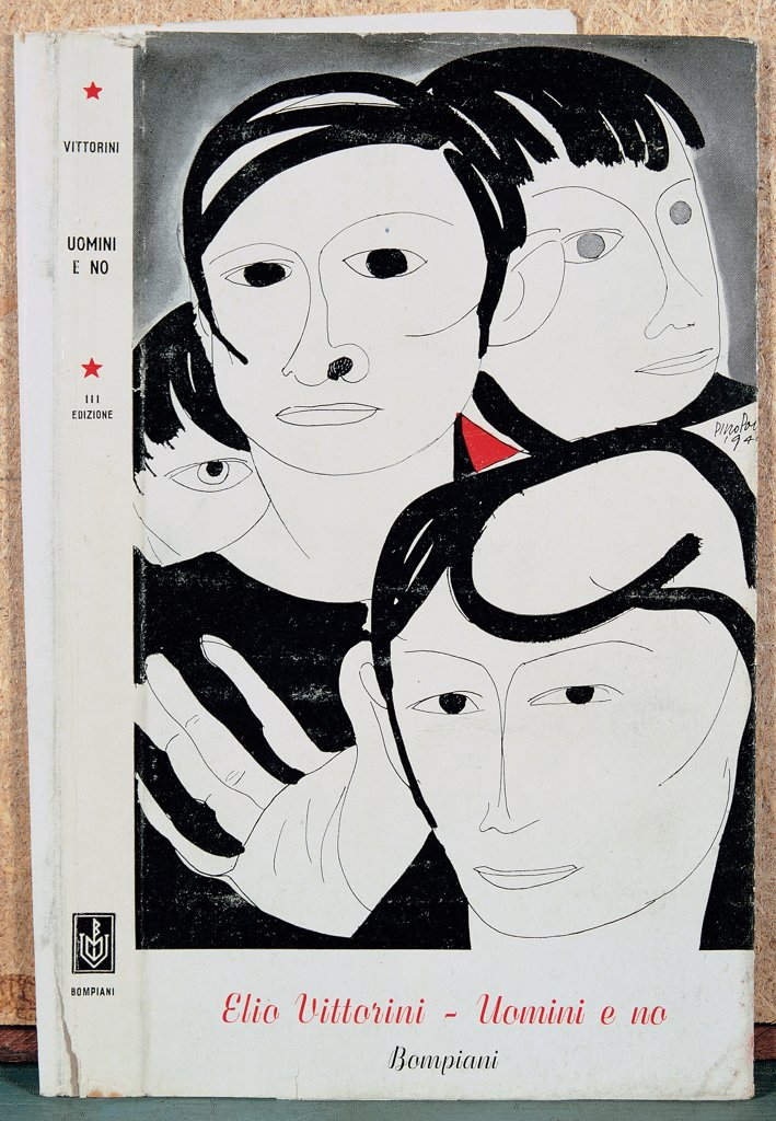 "Stock Photo: 1899-30495 Cover of the third edition of """"Uomini e no"""" by Elio Vittorini, by Unknown, 1949, 20th Century, Unknow. Italy, Lombardy, Milan, National Braidense Library. Whole artwork. Cover Bompiani faces hairstyles pronounced black lines light red black white inscription."