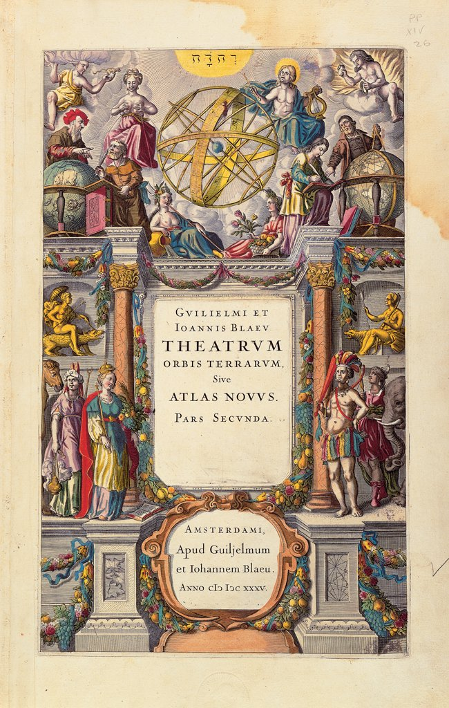Stock Photo: 1899-30497 Abraham Ortelius, Theatrum Orbis Terrarum, title page, by Blaeu Johann, Blaeu Willelm, 1645, 17th Century, watercolor engraving. Italy, Veneto, Venice, Marciana Library. Whole artwork. Title page architecture inscriptions Guilielmi et Ioannes Blaeu Theatrum Orbis Terrarum sive Atlas Novum pars secunda Amsterdams small human figures gods scientific instruments globes world maps gilt statues Do.