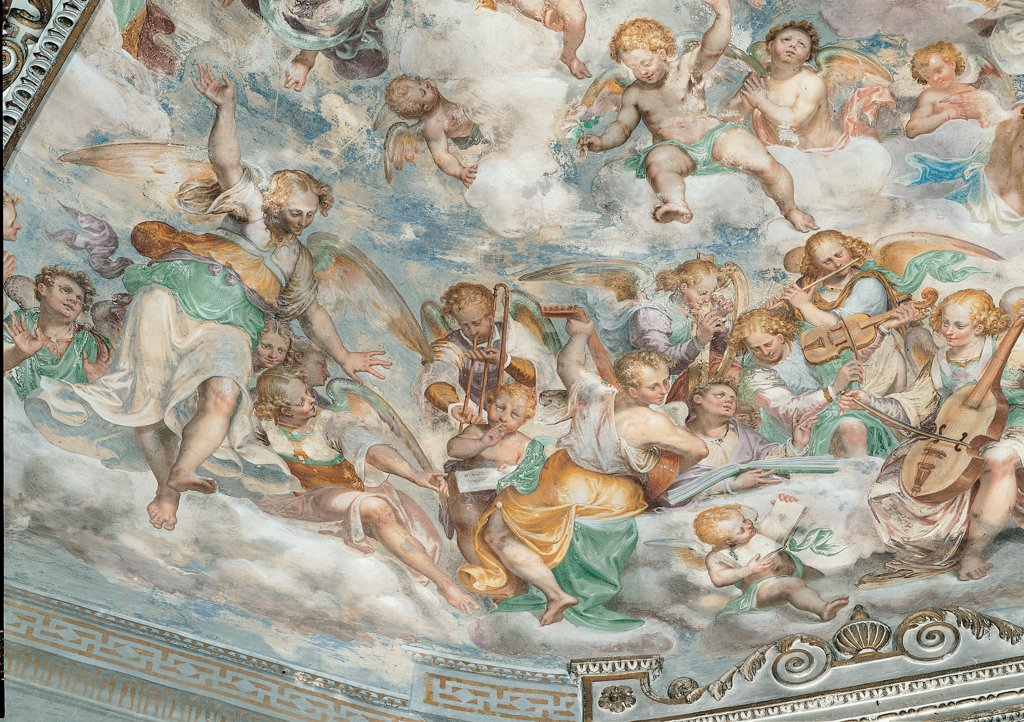 Stock Photo: 1899-30505 Assumption of the Virgin, by Urbino Carlo, Luini Aurelio, 16th Century, fresco. Italy, Piemonte, Verbania, Madonna di Campagna church. Whole artwork. Musician angels playing wings violin clouds sky yellow green light blue: azure.
