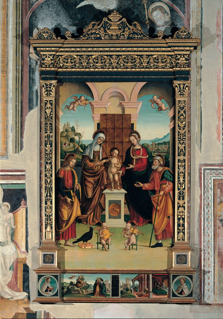 Stock Photo: 1899-30506 Sacred/Holy Conversation, by Lanzani Bernardino, 16th Century, tempera on board. Italy, Lombardy, Pavia, Santa Maria del Carmine church. Whole artwork. Sacred: Holy conversation Baby: Child Jesus Christ on the altar in the centre. On the sides Mary Madonna Virgin Mother St Anne two saints two musicians lute bird background Renaissance architecture light from the a.