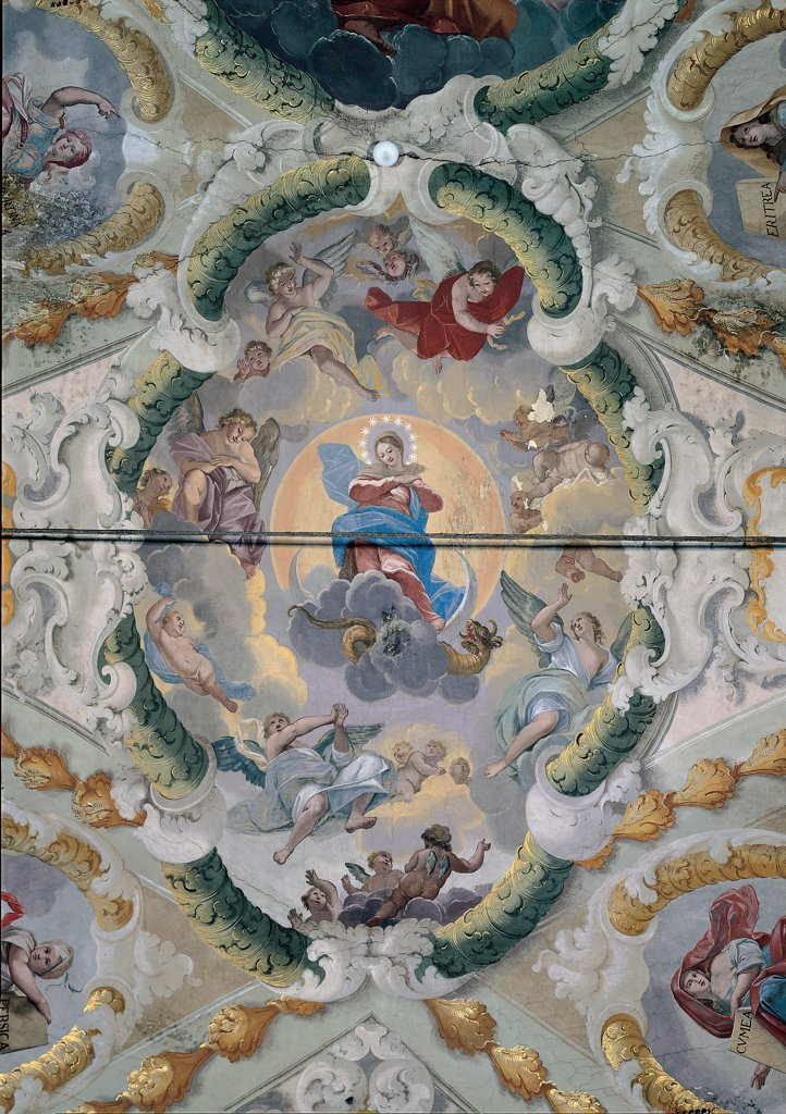 Stock Photo: 1899-30515 Fresco of the Triumphal Arch, by Nardini Tommaso, 18th Century, fresco. Italy, Marche, Ascoli Piceno, Sant'Angelo Magno Church. Detail. Immaculate Conception stars' crown moon devil dragon Mary Virgin Madonna clouds angels cherubs seraphs stuccos paintings false architectures white gold green blue red green.