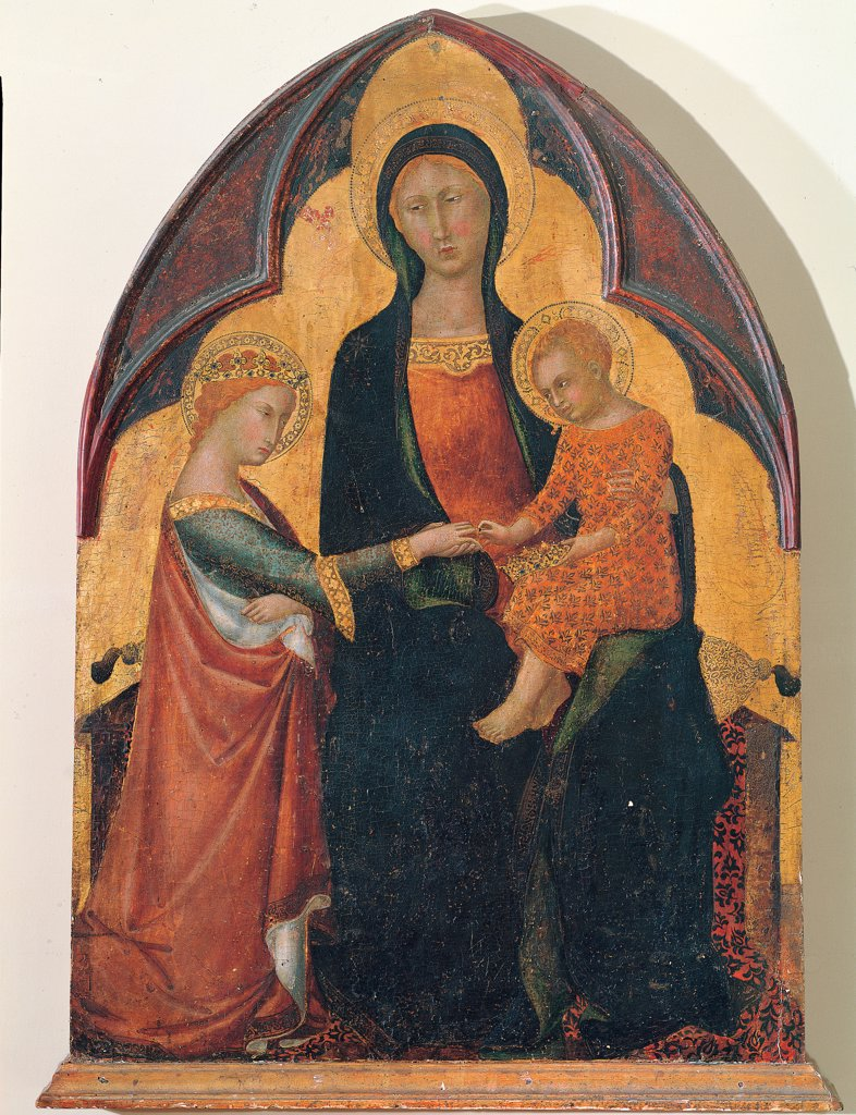 Stock Photo: 1899-30528 The Mystical Marriage of Saint Catherine, by Master of the Palazzo Venezia, 14th Century, Unknow. Italy, Tuscany, Siena, National Gallery of Art. Whole artwork. Madonna St Virgin Mary Child Jesus: Baby Jesus: Christ Child St Catherine of Alexandria mystical marriage halo: aureole crown throne colors orange blue gold.