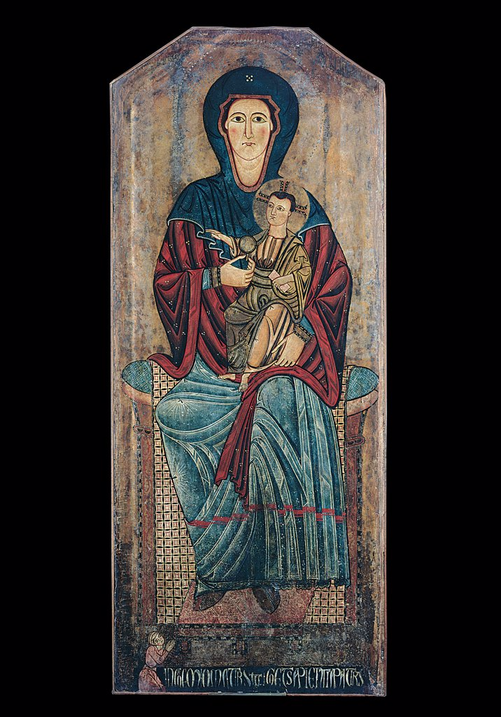 Sivignano Madonna, by Abruzzo Painter, 13th Century, fresco. Italy, Abruzzo, L'Aquila, Abruzzo National Museum. Whole artwork. Madonna Mary Virgin Infant Jesus: Christ Child: Baby Jesus: Child Jesus Byzantine-style hieratic quality veil drapery tubular chair inscription client believer veil halo: aureole light blue: azure red blue white green. : Stock Photo