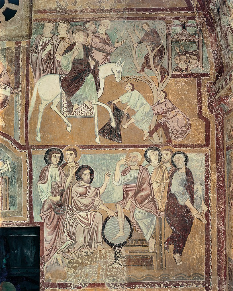 Stock Photo: 1899-30535 Scenes of Passion, by Master of Bominaco Passion, 13th Century, Unknow. Italy, Abruzzo, Bominaco, L'Aquila, San Pellegrino Oratory. Whole artwork. Washing of feet entrance of Christ in Jerusalem Jesus upper register horse mantle: cloak bows Zacchaeus trees plants Roman noblemen pallium dress: robe: garment drapery fortress yellow green red dark: brown shades: hu.