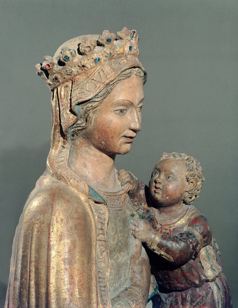 Madonna with Child, by Di Nanni Mattia, 15th Century, wood, freestanding and painted. Italy, Tuscany, Siena, Sant'Agostino church. Detail. Madonna Mary dress: robe: garment veil crown pensive face holding Baby: Child Jesus red dress edge gold attribute of kingship. : Stock Photo