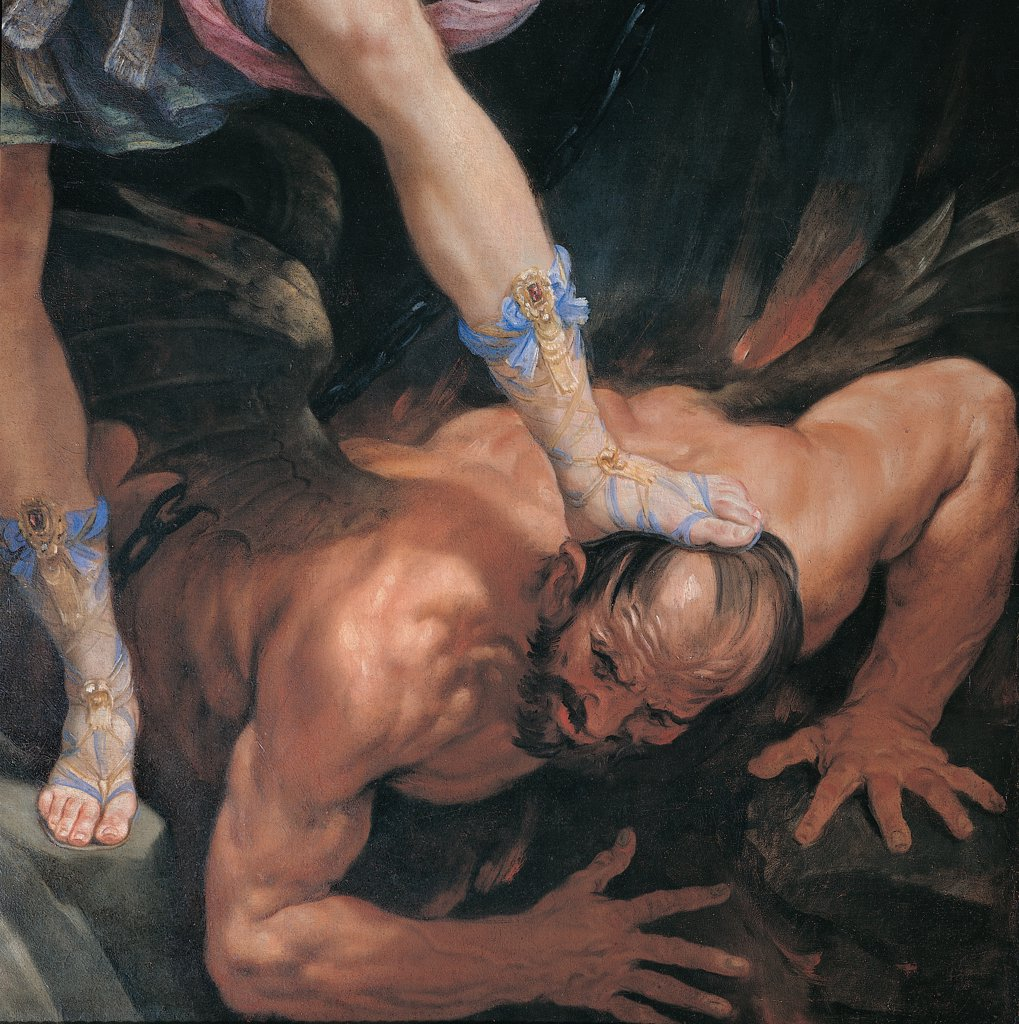 Stock Photo: 1899-30595 St Michael the Archangel, by Reni Guido, 1635, 17th Century, oil on silk. Italy: Lazio: Rome: Santa Maria della Concezione Church: Cappuccini Church. Detail. St Michael's foot, wearing a precious sandal with braided ribbons, is stepping on Devil's head, a bearded man with strong muscles