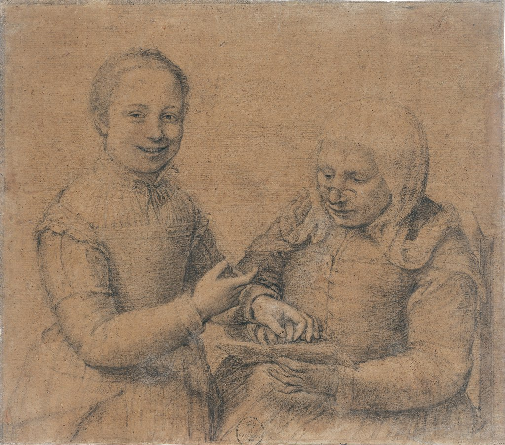Stock Photo: 1899-30633 Old Woman who Studies the Alphabet is Mocked by a Young Girl, by Anguissola Sofonisba, 16th Century, black chalk, heightened with white, on scraped olive grey paper mounted on canvas. Italy: Tuscany: Florence: Uffizi Gallery: inv. 13936 F. Whole artwork. A smiling girl looks at the observer as she points to an elderly woman whose finger she is holding. The older woman looks at an open book through pince-nez. Both wear period clothes and are portrayed with captivating immediacy