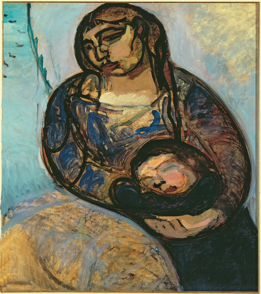 Maternity, by Rossi Gino, 1913, 20th Century, Unknow. Italy, Veneto, Venice, Ca' Pesaro, International Gallery of Modern Art. Whole artwork. Woman child embrace: hug space research syntheticism love curved lines intermingling of figures light blue: azure blue yellow white dark tones: shades: hues. : Stock Photo