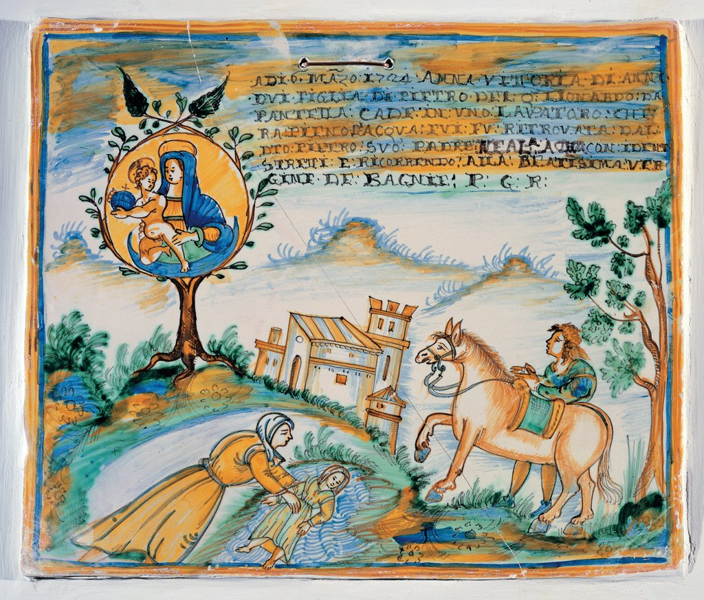 Stock Photo: 1899-30650 Ex voto. Saving of girl fallen in a sink, by Unknown, 1724, 18th Century, tile polychrome majolica. Italy, Umbria, Deruta, Perugia, Madonna dei Bagni Church. Whole artwork. Landscape hill castle on the left tree roots emblem with Madonna Mary Virgin and Baby: Child Jesus: Christ Child on the right rider sees the scene mother saving young girl fell into a sink dedicatory inscription ye.