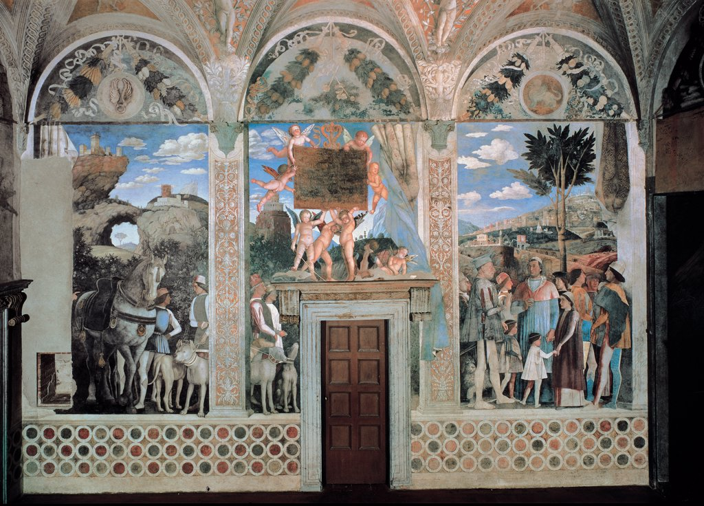 """Stock Photo: 1899-30666 Decoration of the Camera degli Sposi (Camera Picta), by Mantegna Andrea, 1465 - 1474, 15th Century, fresco and """"""""dry"""""""" tempera. Italy, Lombardy, Mantua, Ducal Palace. West wall. The meeting between Ludovico Gonzaga and his sons, Francesco and Federico. Whole artwork. Wall higher lunettes with Ludovico Gonzaga's deeds.."""