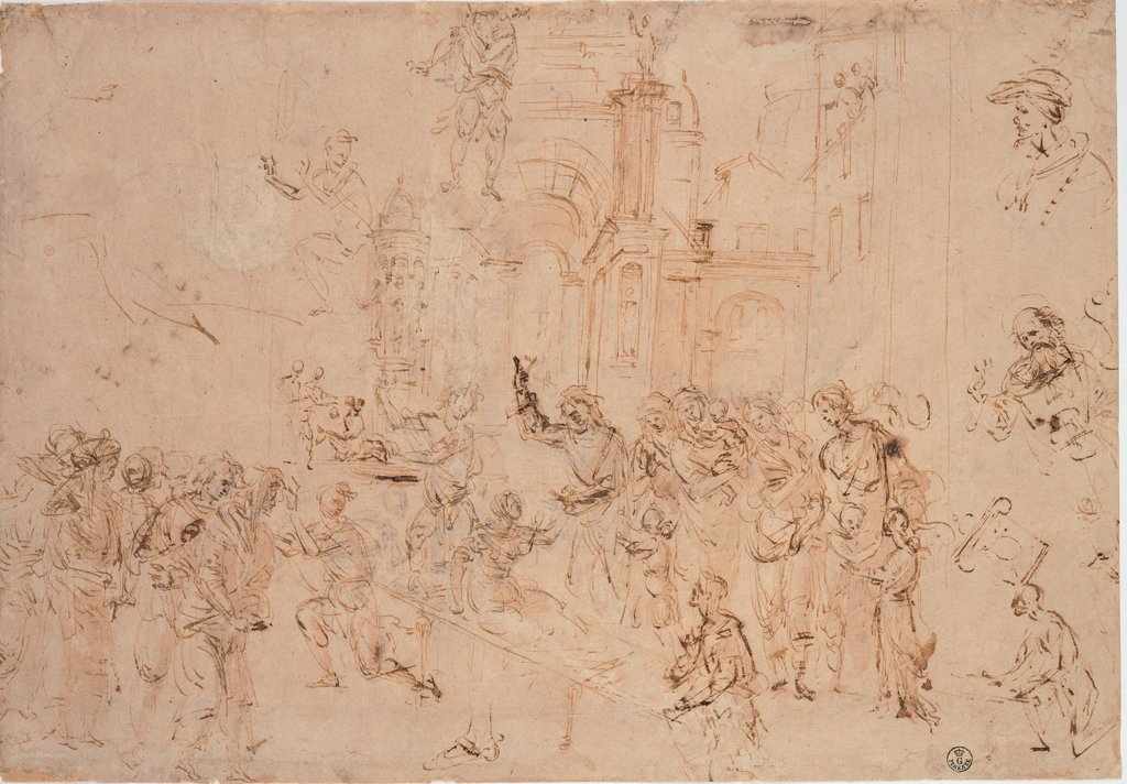 Stock Photo: 1899-30685 The Rasing of Drusiana, by Lippi Filippino, 15th Century, pen and brown watercolor, traced of black pencil. Italy, Tuscany, Florence, Uffizi Gallery. Whole artwork. Miracle St John the Baptist resurrection Drusiana.