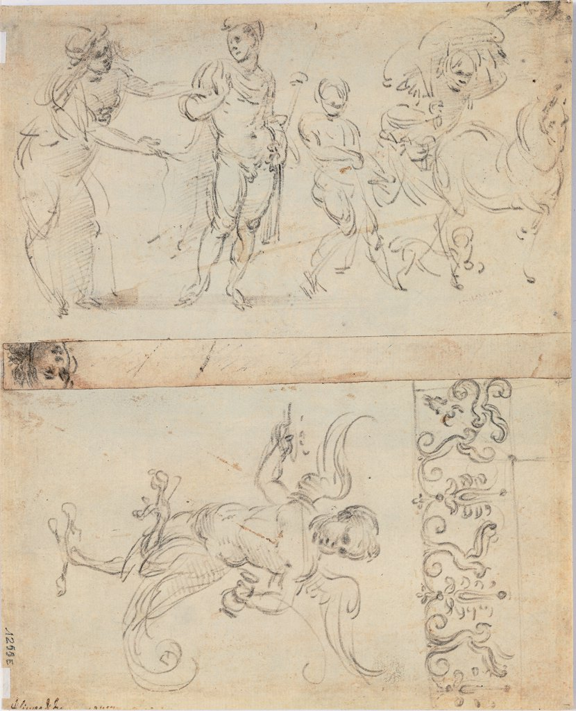 Stock Photo: 1899-30689 Hippolytus' departure for hunting, an harpy and a decorative frieze, by Lippi Filippino, 15th Century, pen and brown ink. Italy, Tuscany, Florence, Uffizi Gallery. Whole artwork. Man nude: naked horse cupid frieze.