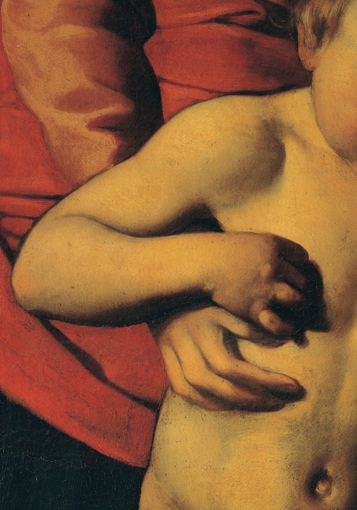 Madonna Palafrenieri, by Merisi Michelangelo known as Caravaggio, 1605, 17th Century, oil on canvas. Italy, Lazio, Rome, Borghese Gallery. Detail. Hands Madonna Jesus Child. : Stock Photo