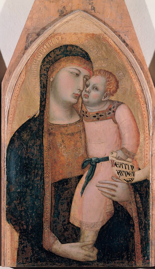 Madonna and Child with Sts Magdalene and Dorothea, by Lorenzetti Ambrogio, 14th Century, tempera on panel. Italy, Tuscany, Siena, National Gallery of Art. Detail. Madonna Virgin Mary veil decorated band Child Jesus: Baby Jesus: Christ Child holding cartouche with the inscription of Beatitudes. : Stock Photo