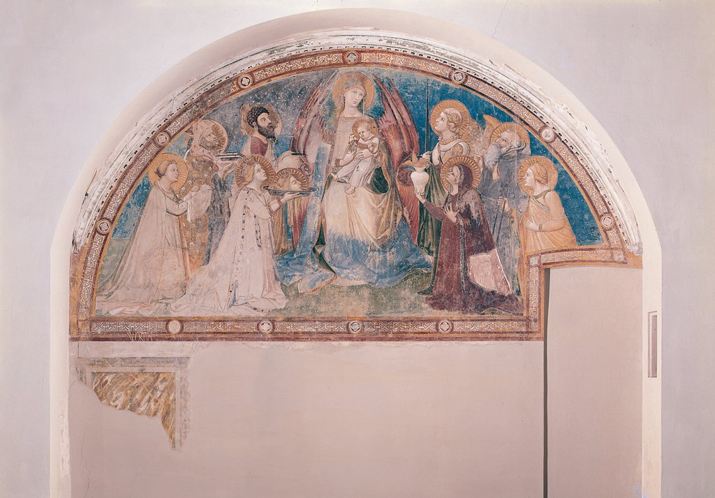 The Majesty of Madonna and Child with Saints, by Lorenzetti Ambrogio, 1335, 14th Century, fresco. Italy, Tuscany, Siena, Sant'Agostino Church. Whole artwork. Lunette fresco in the center Madonna Virgin Mary sitting mandorla Child Jesus: Baby Jesus: Christ Child on sides Saints as donors of their tribulations: troubles. : Stock Photo