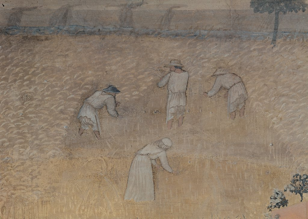 The Effects of Good Government in the City and Country, by Lorenzetti Ambrogio, 1338 - 1339, 14th Century, fresco. Italy, Tuscany, Siena, Palazzo Pubblico, Sala dei Nove. Detail. The Effects of Good Government in the Country peasants at work in the fields. : Stock Photo