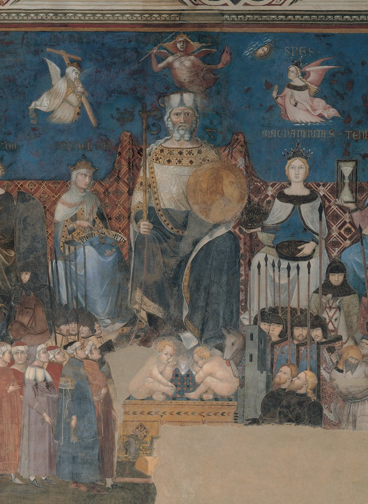 Stock Photo: 1899-30759 Allegory of Good Government, by Lorenzetti Ambrogio, 1338 - 1340, 14th Century, fresco. Italy, Tuscany, Siena, Palazzo Pubblico, Sala della Pace. Detail. Good Government male figure flanked by the virtues female figures personifications prosopoeias Magnanimity: Generosity Prudence below magistrates army inscriptions Gothic types angels.
