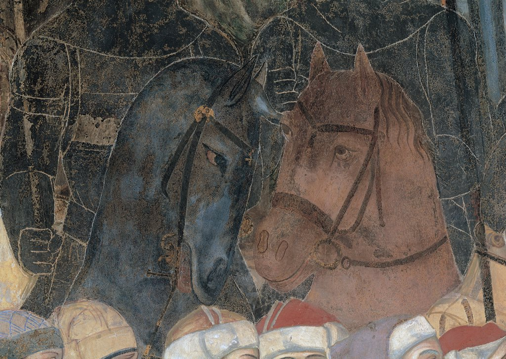 Allegory of Good Government, by Lorenzetti Ambrogio, 1338 - 1340, 14th Century, fresco. Italy, Tuscany, Siena, Palazzo Pubblico, Sala della Pace. Detail. Cuirasses knights: horsemen in the foreground muzzle: nose harnessed horses protomes animals brown gray Renaissance headdresses: headgears. : Stock Photo
