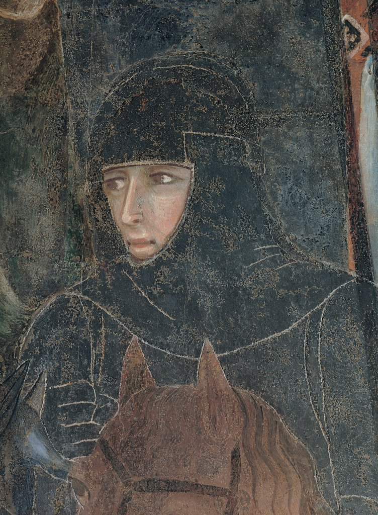 Allegory of Good Government, by Lorenzetti Ambrogio, 1338 - 1340, 14th Century, fresco. Italy, Tuscany, Siena, Palazzo Pubblico, Sala della Pace. Detail. Armed knight: horseman male figure helmet cuirass he holds a sword on horseback brown harnessed. : Stock Photo