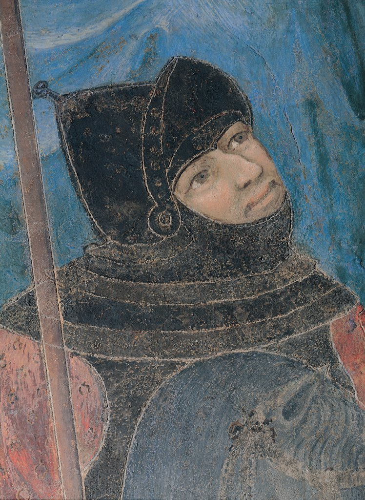 Stock Photo: 1899-30782 Allegory of Good Government, by Lorenzetti Ambrogio, 1338 - 1340, 14th Century, fresco. Italy, Tuscany, Siena, Palazzo Pubblico, Sala della Pace. Detail. Armed horseman: knight of the Sienese army horse cuirass helmet visor: helmet visor horse.