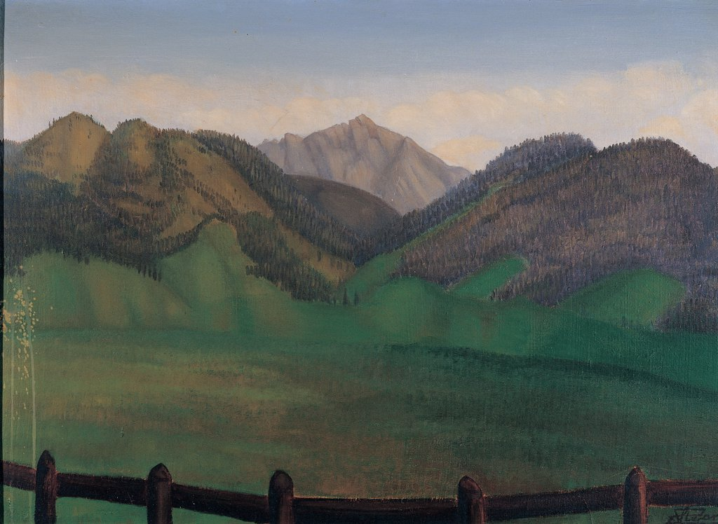 Stock Photo: 1899-30831 Summer Landscape, 1932, by Stefani Pierangelo, 1932, 20th Century, tempera on canvas. Italy, Lombardy, Lonato del Garda, Brescia, Private collection. Whole artwork. Landscape green mountains forest chain in the background rocky mountains sky clouds.