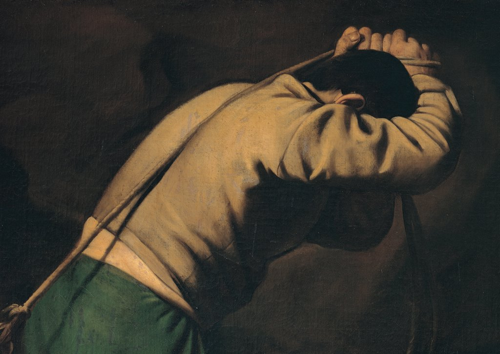 Martyrdom of St Peter, by Merisi Michelangelo known as Caravaggio, 1600 - 1601, 17th Century, oil on canvas. Italy, Lazio, Rome, Santa Maria del Popolo Church, Cerasi Chapel. Detail man brutal fellow shoulders rope strain back. : Stock Photo