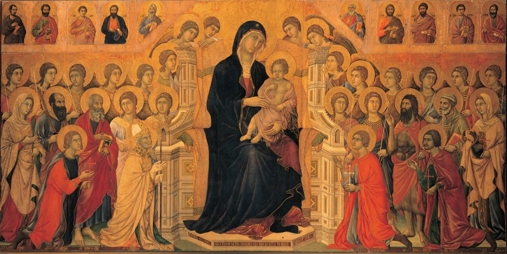 Military Parade at Campo di Marte, by Duccio di Buoninsegna, 1308 - 1311, 14th Century, tempera on panel, with gold ground. Italy. Tuscany. Siena. Cathedral. Opera del Duomo Museum. Front, all of The Virgin and the Child Jesus/Baby Jesus/Christ Child sitting on gothic throne, surrounded by angels and saints. Precious colors of blue, red and gold. Aureoles/halos in gilded pastiglia : Stock Photo