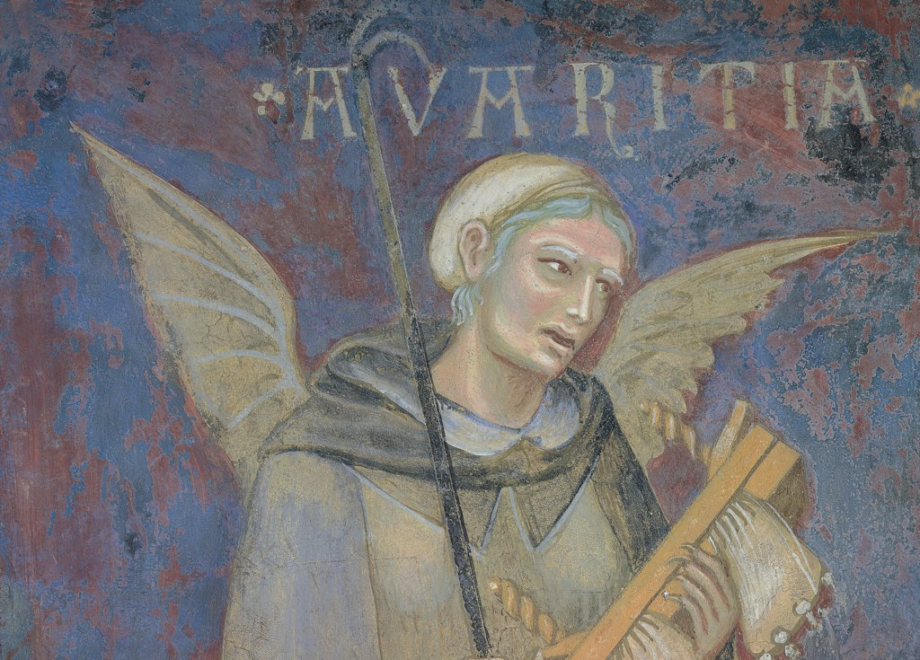 Allegory of Bad Government, by Lorenzetti Ambrogio, 1338 - 1339, 14th Century, fresco. Italy, Tuscany, Siena, Palazzo Pubblico, Sala della Pace, west wall. Detail. Avarice winged male figure key stick blue red green gray. : Stock Photo