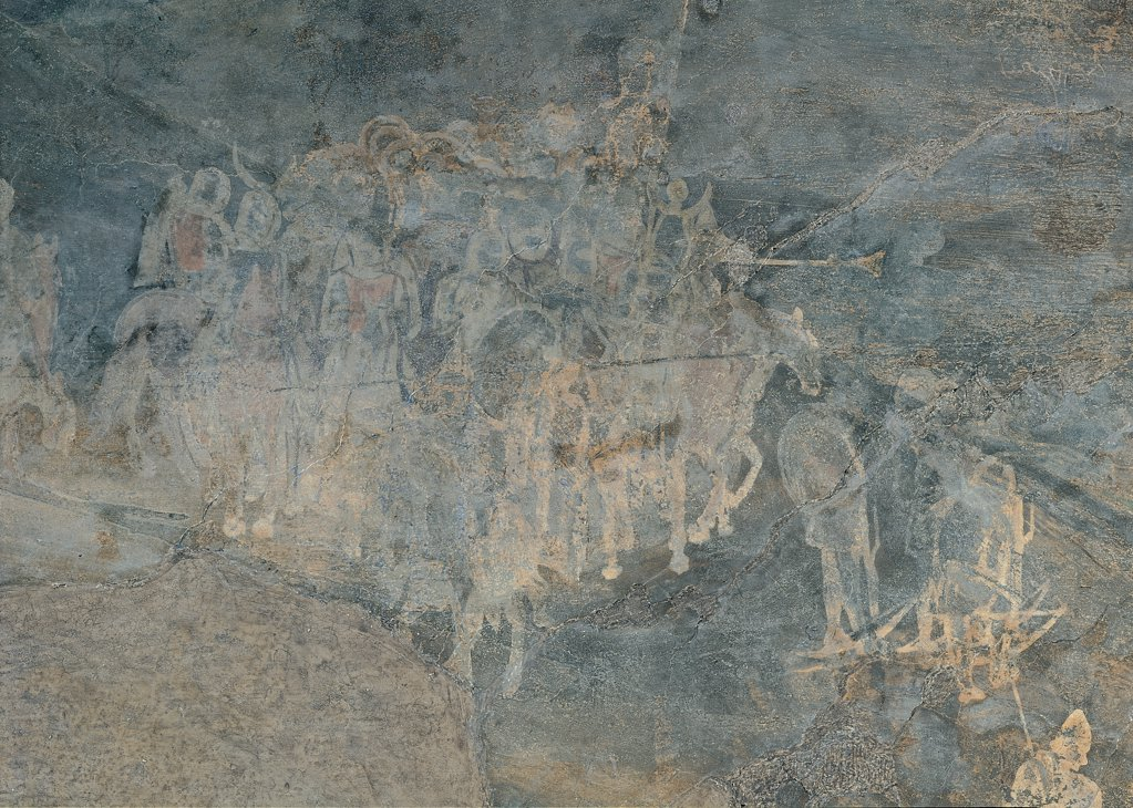 Effects of Bad Government on the Countryside, by Lorenzetti Ambrogio, 1338 - 1339, 14th Century, fresco. Italy, Tuscany, Siena, Palazzo Pubblico. Detail. Group of armed men knights: riders gray. : Stock Photo