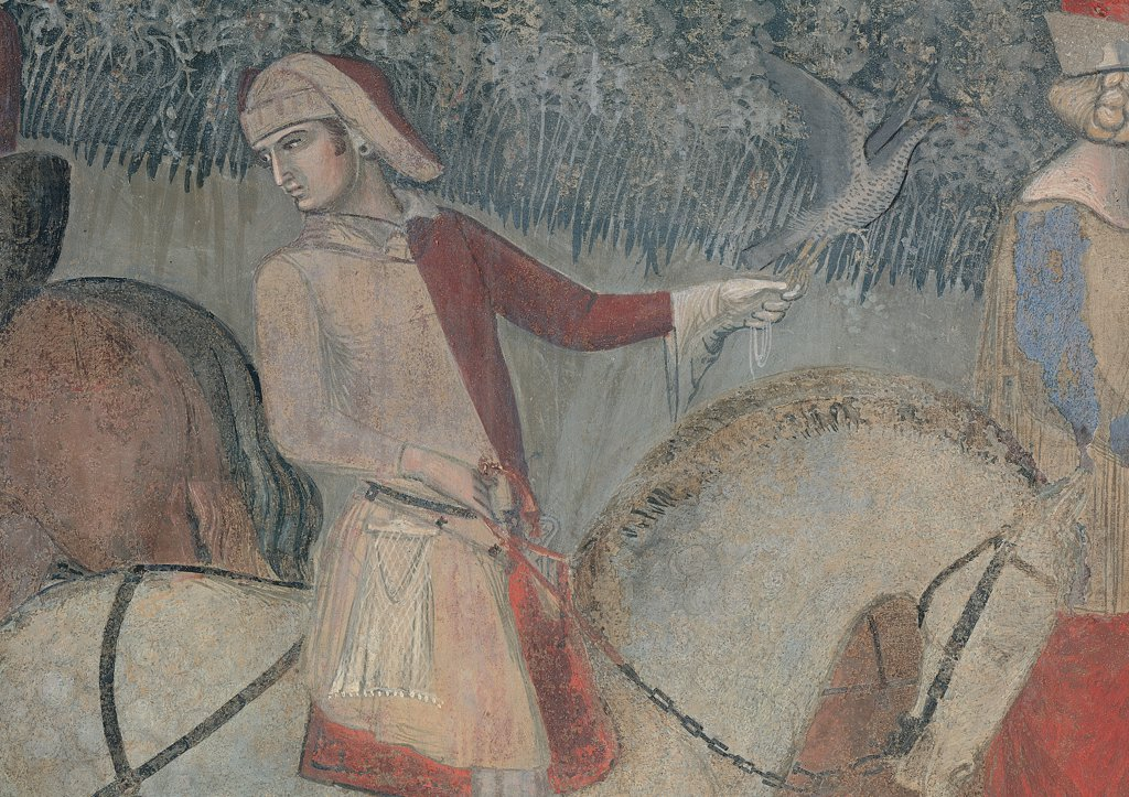 The Effects of Good Government in the Country, by Lorenzetti Ambrogio, 1338 - 1340, 14th Century, fresco. Italy, Tuscany, Siena, Palazzo Pubblico, Sala della Pace, eastern wall. Detail. Knight: rider horse black harness. : Stock Photo