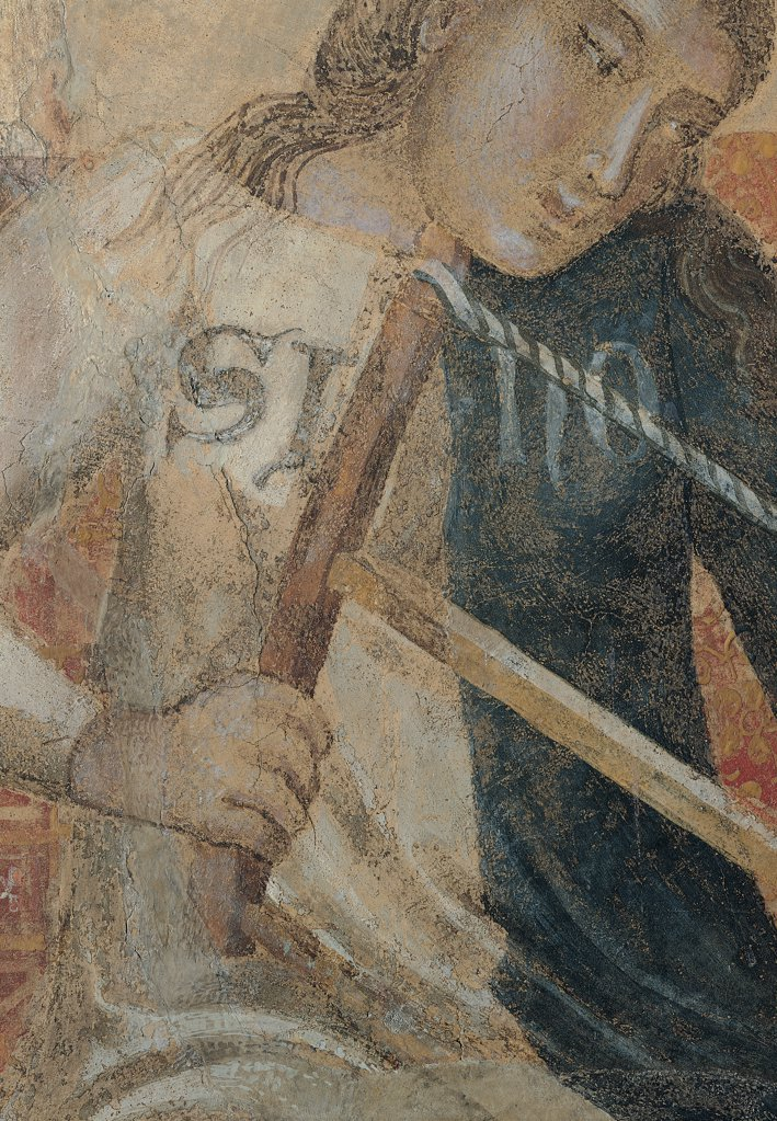 Stock Photo: 1899-30957 Allegory of Bad Government, by Lorenzetti Ambrogio, 1338 - 1339, 14th Century, fresco. Italy, Tuscany, Siena, Palazzo Pubblico, Sala della Pace, west wall. Detail. Divisio of saw inscription SI NO (yes non).