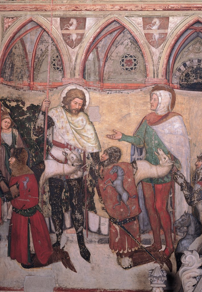 Stock Photo: 1899-30967 The Cavalli Family Presented to the Virgin Mary, by Altichiero da Zevio, 1370 - 1375, 14th Century, fresco. Italy, Veneto, Verona, Sant'Anastasia church. Detail. Sts George and Martin presenting the first two commanders: leaders coats-of-arms heraldry horses colonnade: porch pointed arches ogival arch vaulting ribs cross vaults cornice string course knights: riders helmet.