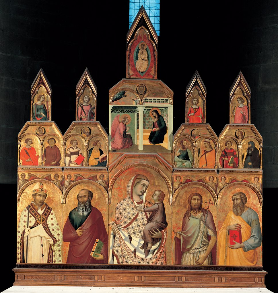 Stock Photo: 1899-30983 Polyptych (Virgin and Child with Saints, Annunciation and Assumption), by Lorenzetti Pietro, 1320, 14th Century, tempera on panel. Italy, Tuscany, Arezzo, Santa Maria Parish Church. Whole artwork. Polyptych Madonna: Virgin Mary Child Saints Annunciation Assumption gold.