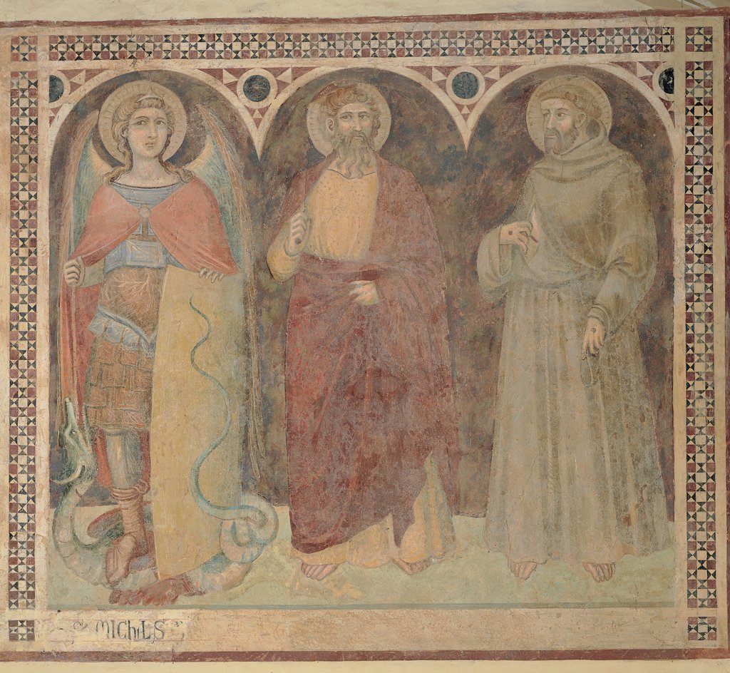 Stock Photo: 1899-30990 St Michael the Archangel, St Bartholomew and St Francis, by Lorenzetti Pietro, 1345, 14th Century, fresco. Italy, Tuscany, Castiglione del Bosco, Montalcino, Siena, San Michele Chapel. Whole artwork. St Michael Archangel St Bartholomew St Francis saints round arches center cuirass dragon shield lance: spear halos: aureoles cloak: mantle draping: drapery habit: tunic red brown grey yellow light blue: azure.