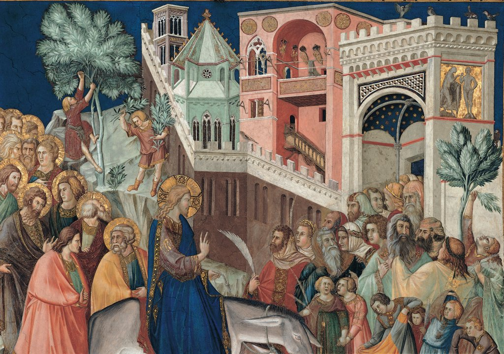 Entry of Christ into Jerusalem, by Lorenzetti Pietro, 1320, 14th Century, fresco. Italy, Umbria, Assisi, Perugia, San Francesco Papal Basilica. Detail. Without the lower part entrance Jesus Christ Jerusalem crowd crush walls door castle apostles halos: aureoles rocks stones tree plants palms buildings city blue green yellow red green white gray brown gold. : Stock Photo