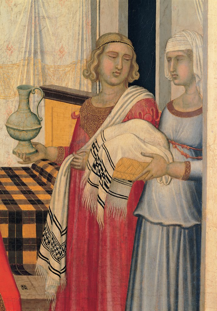 Birth of the Virgin Mary, by Lorenzetti Pietro, 1342, 14th Century, tempera on panel. Italy, Tuscany, Siena, Opera del Duomo Museum. Detail. The maidservant with the food on the right basket osiery dress: garment drapery: draping folds curtains bed red yellow light blue: azure white blue. : Stock Photo